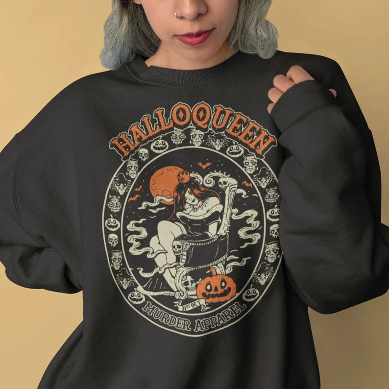 Halloqueen Pumpkin October Vintage Halloween Sweatshirt image 0