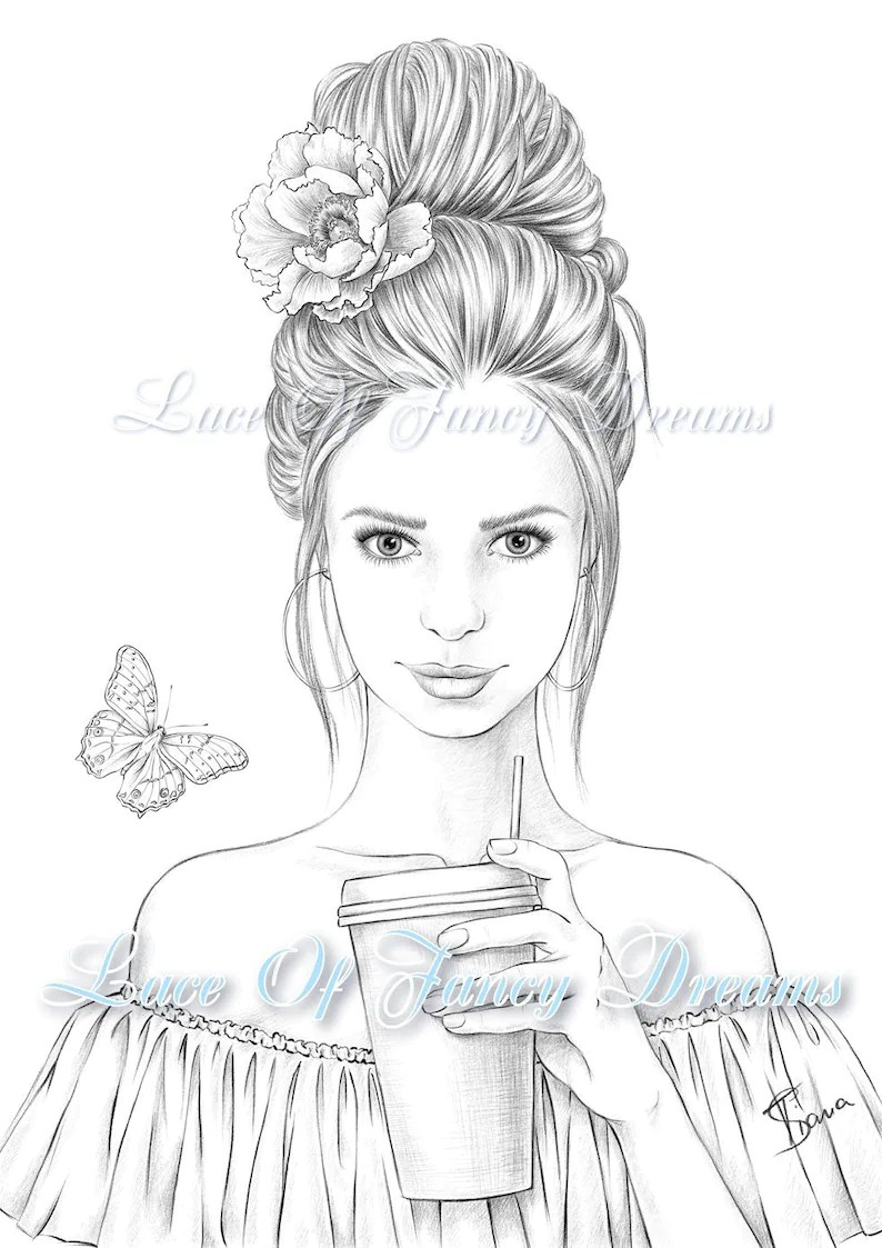 Beautiful woman coloring page for adult coloring sheet