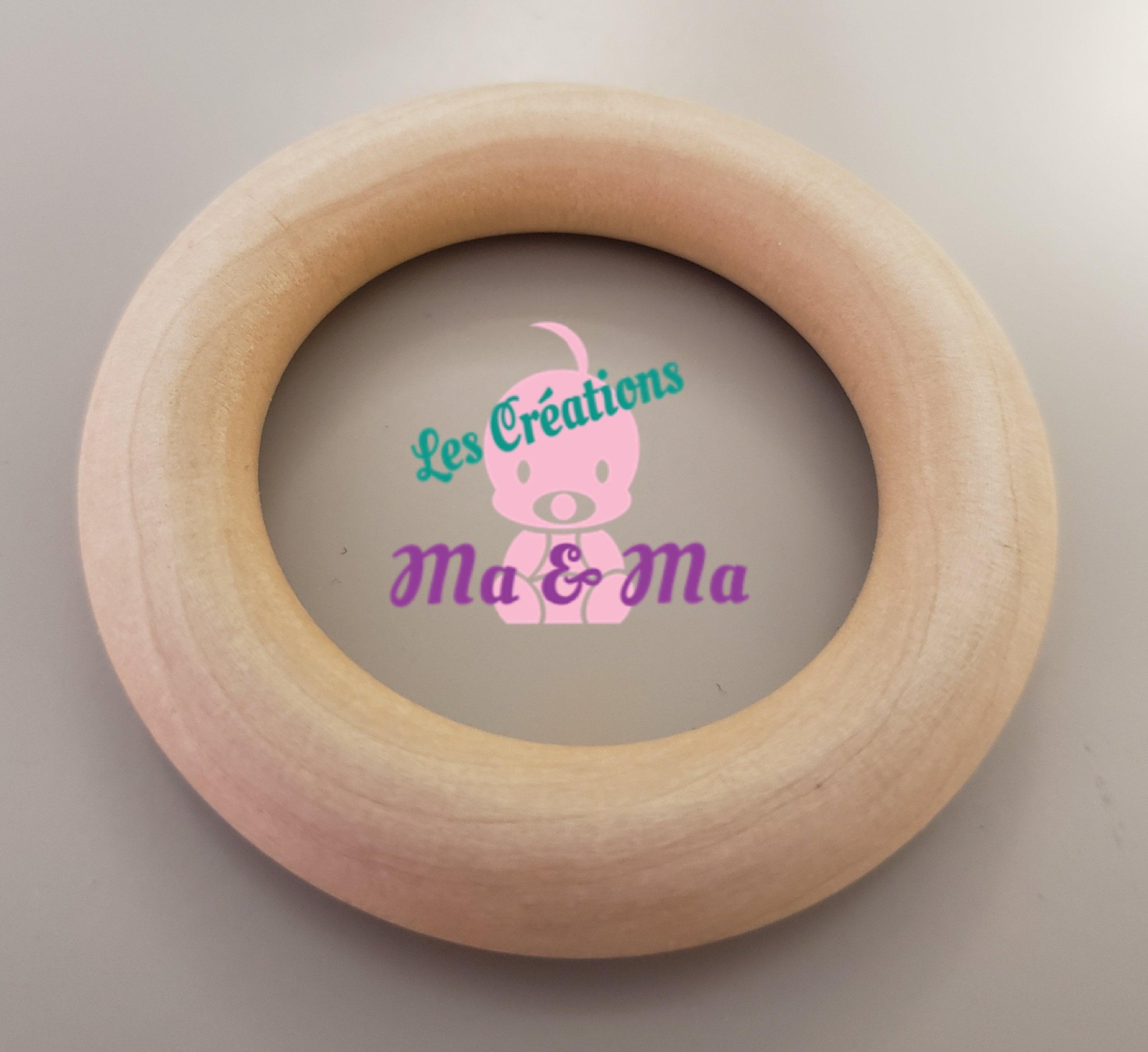 Natural Wood Rings 40mm Wooden Circles natural Wood  Baby image 5