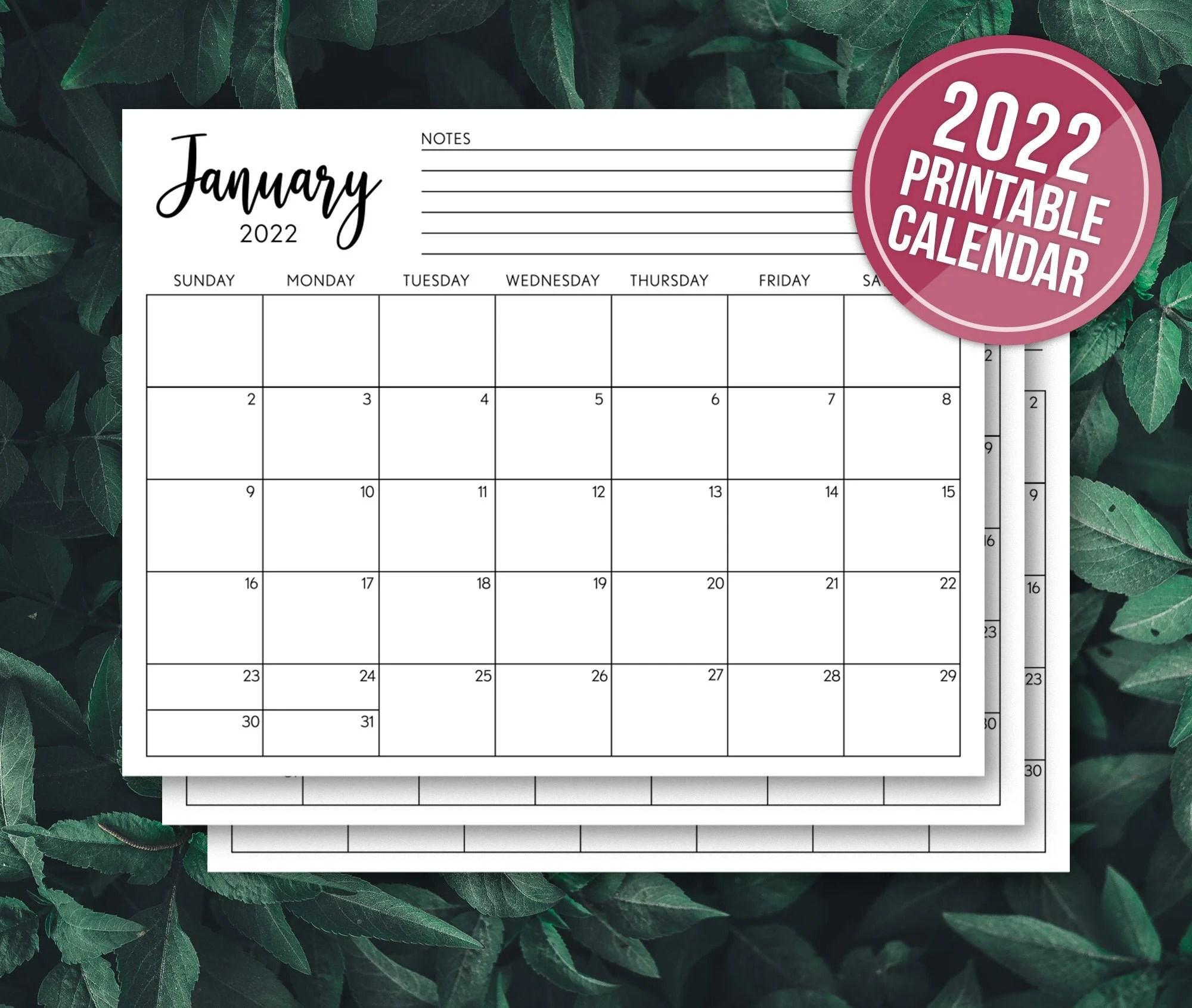 PRINTABLE CALENDAR 2022 Calendar Planner Insert Minimalist ...