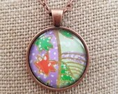 Japanese Chiyogami Paper Pendant, Copper Pendant, Japanese Washi Paper, Origami Paper Gift