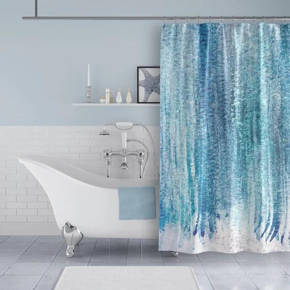 aqua blue turquoise watercolor fabric shower curtain for modern beach bathroom