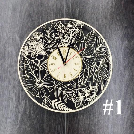 Flowers Wall Clock Modern Wall Art Silent Wooden Clock Unique Etsy