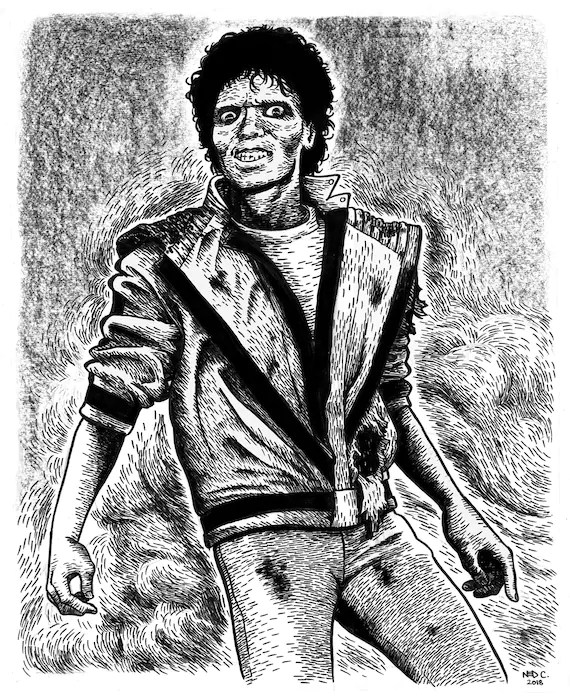 Michael Jackson Thriller Drawing : michael, jackson, thriller, drawing, Michael, Jackson, Thriller, Original, Drawing, Large