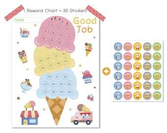 Ice cream reward chart for kids good parenting solution chore responsibility also etsy rh