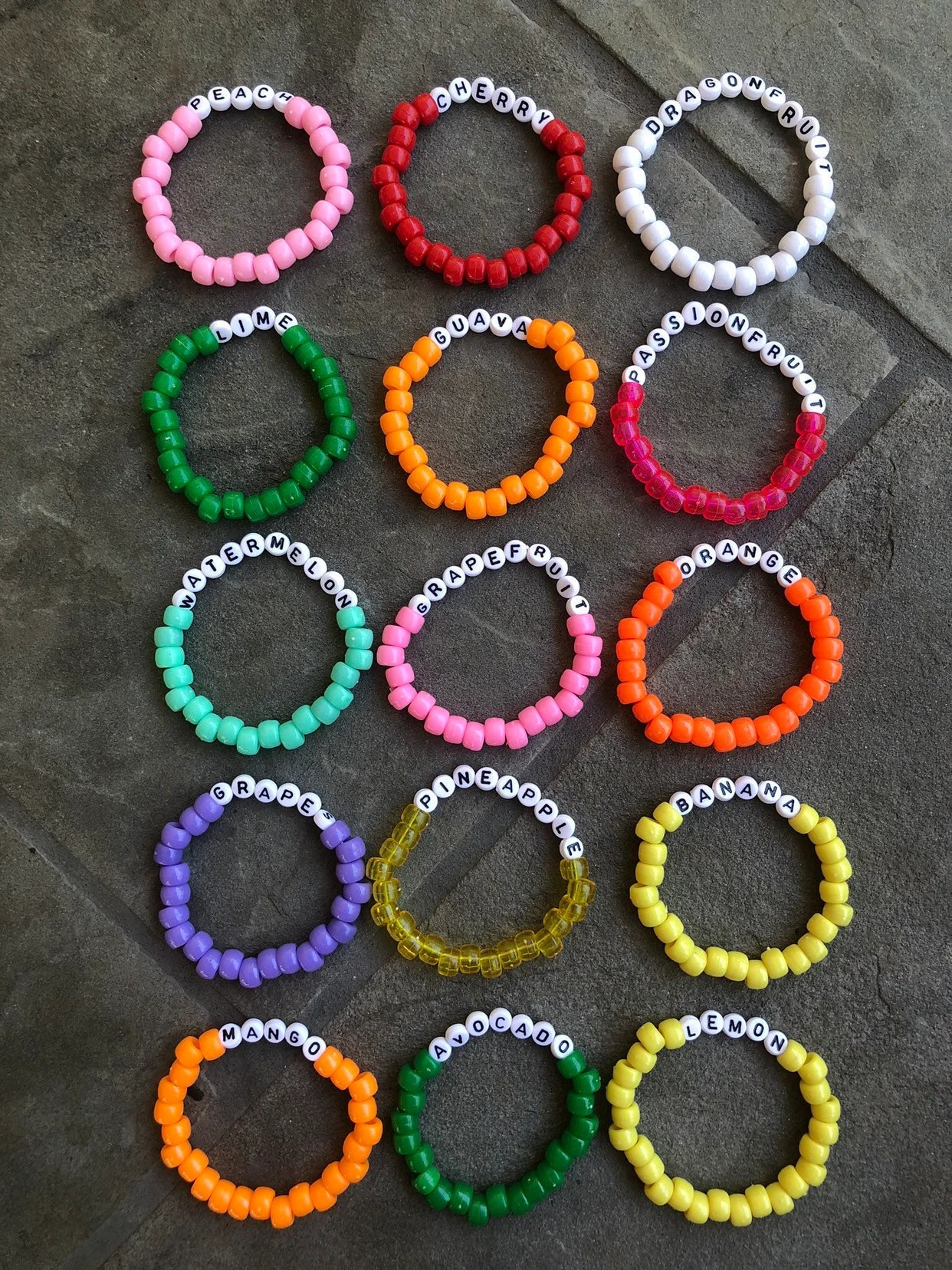 Vsco Bead Bracelets With Words : bracelets, words, Fruit, Armband, Sieraden