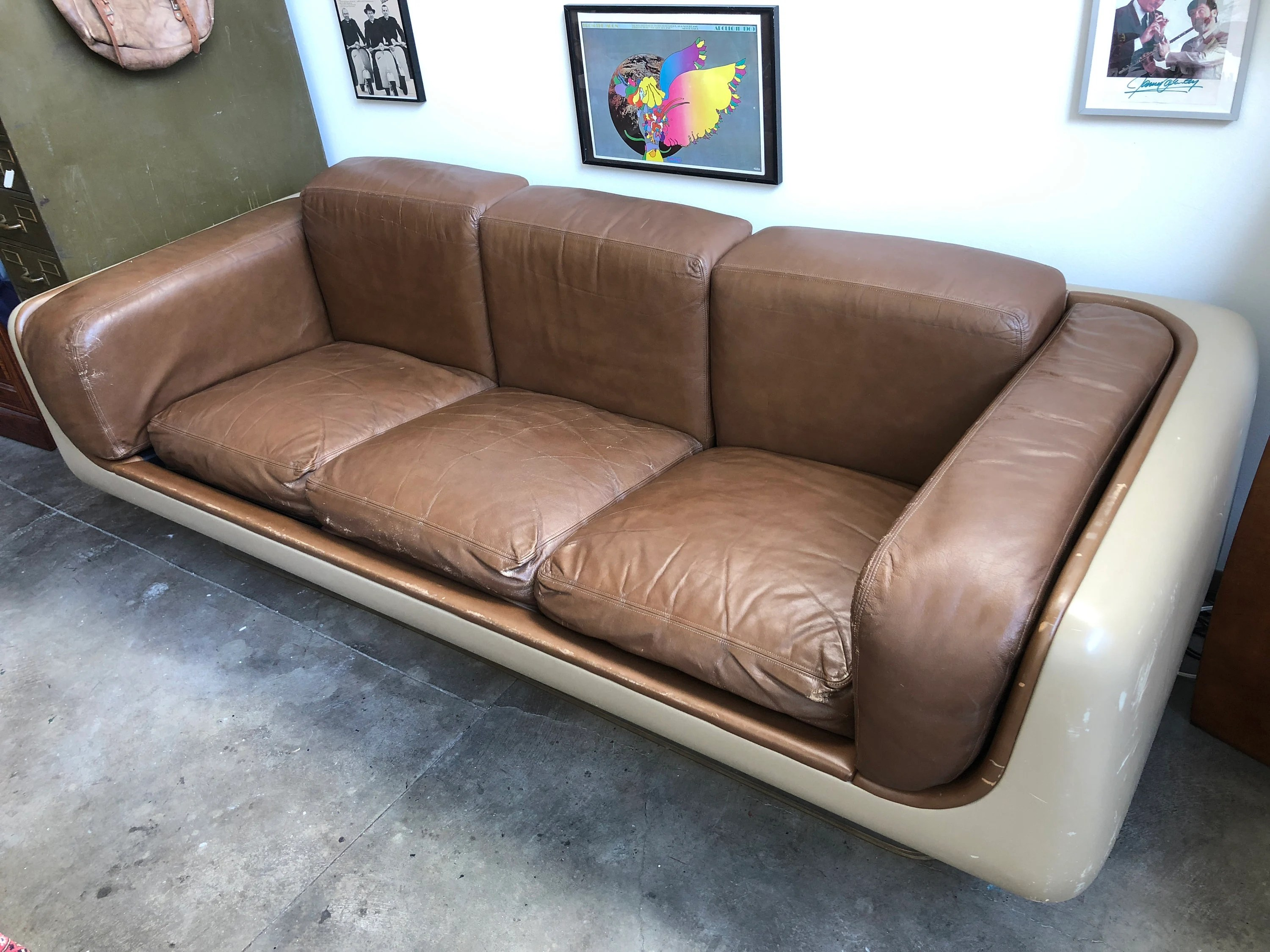 steelcase sofa platner baby support seat etsy original mod 70s warren for couch mcm mid century modern lucite leather molded plastic