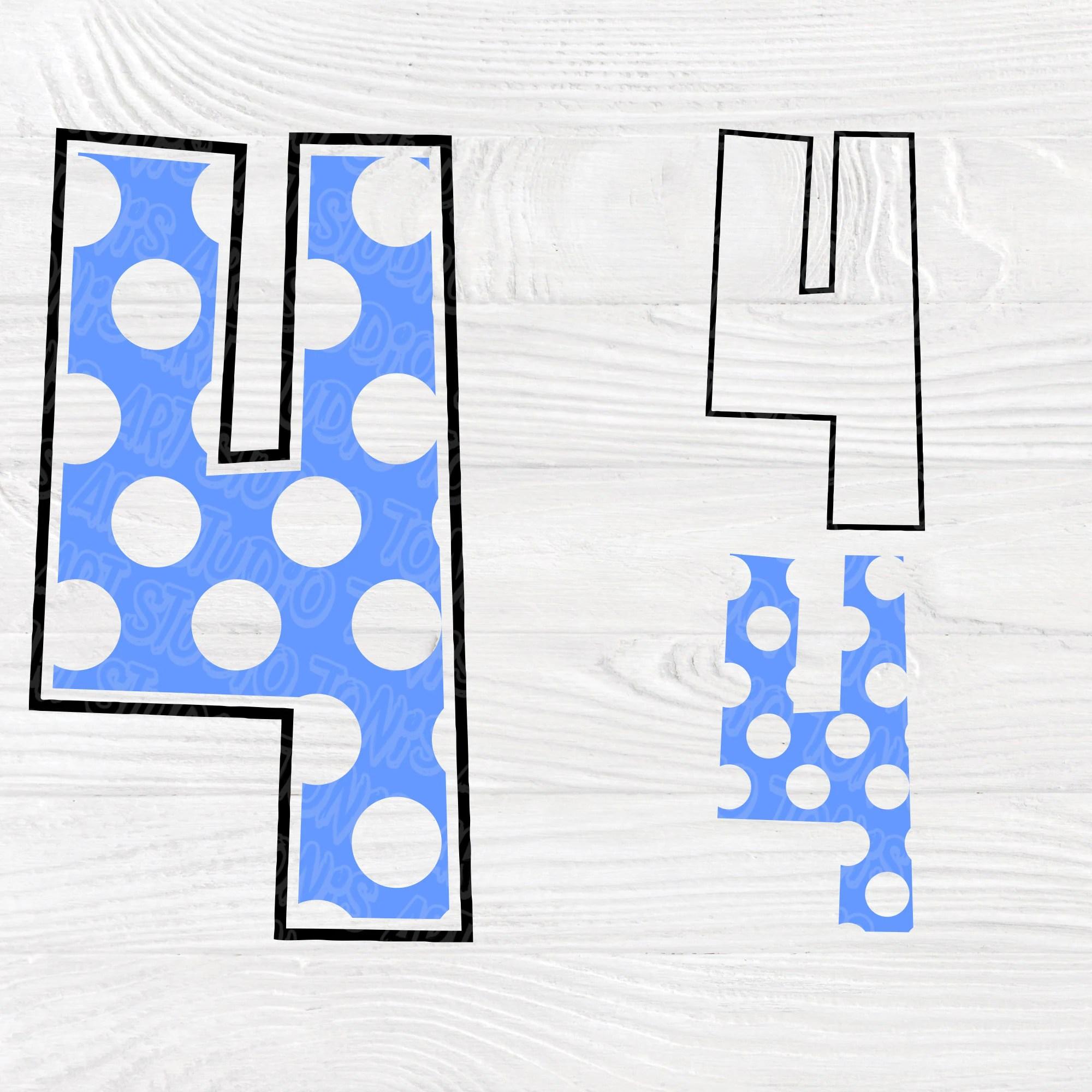 Polka Dot Numbers Svg