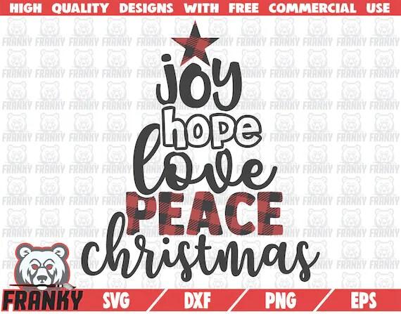 Download Caligraphyc Christmas tree SVG Joy Hope Love Peace | Etsy