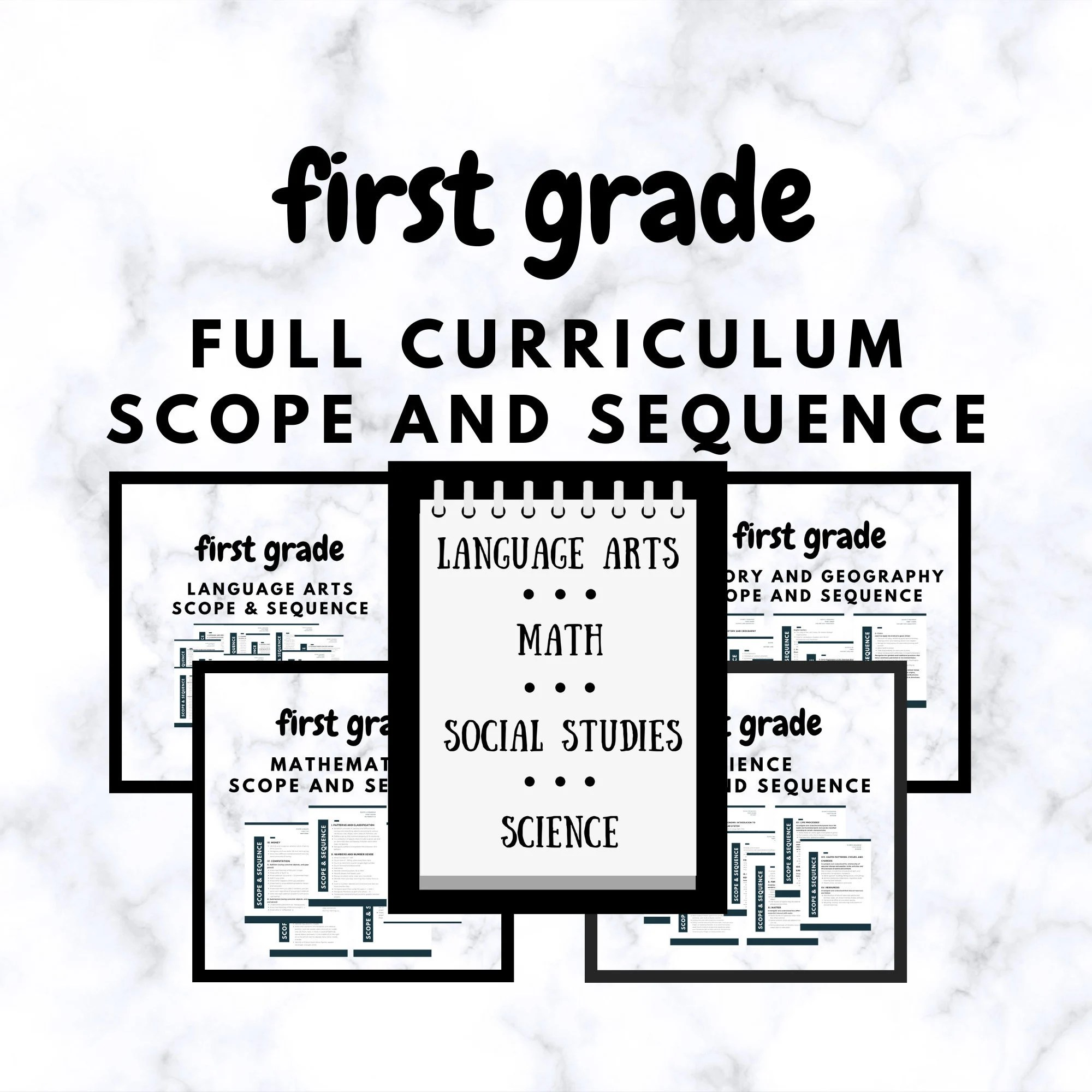 Homeschool First Grade Full Curriculum Scope and Sequence