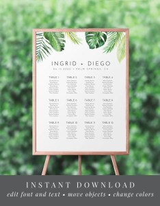 Modern tropical greenery wedding seating chart template palm leaves editable text us  uk sizes instant download ws also etsy rh