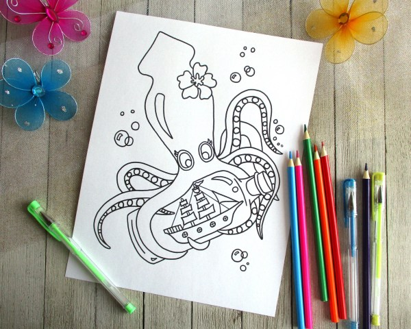 squid coloring pages for kids # 56