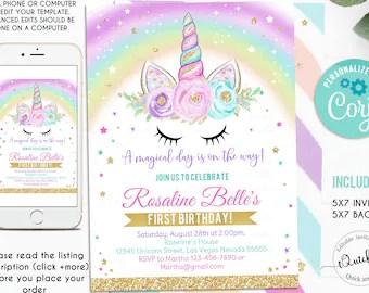 unicorn invitations etsy