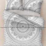 White Silver Indian Hippie Bedding Queen Bedspread Bed Sheet Set Pillow Covers