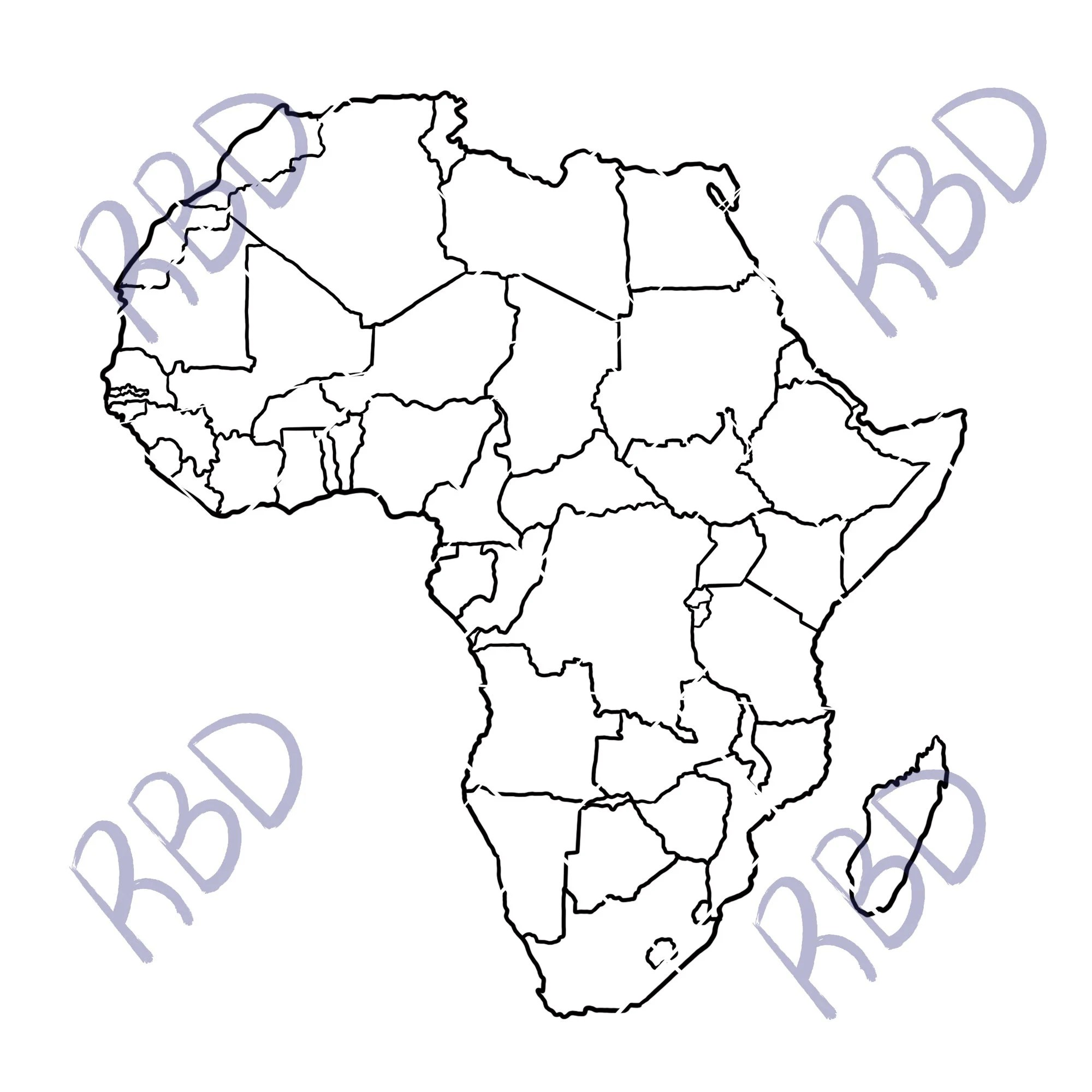 Map of AFRICA, Continent, png, pdf, svg, Black Outline