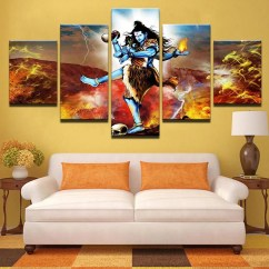 Wall Decorations For Living Room India Luxury Rooms Furniture Indian Decor Etsy 5 Panel Print God Shiva Canvas Set Hindu Religion Art Prints Modern Painting Gift Home Decoration