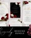 Burgundy Wedding Invitation Set Wedding Invitation Bundle Etsy