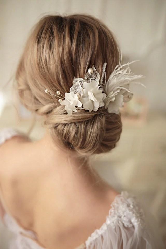 bridal hair pin, bridal hair accessories, wedding hair pin, white hairpins, bridal headpiece wedding hair pin in silver, set of 3 hairpins.