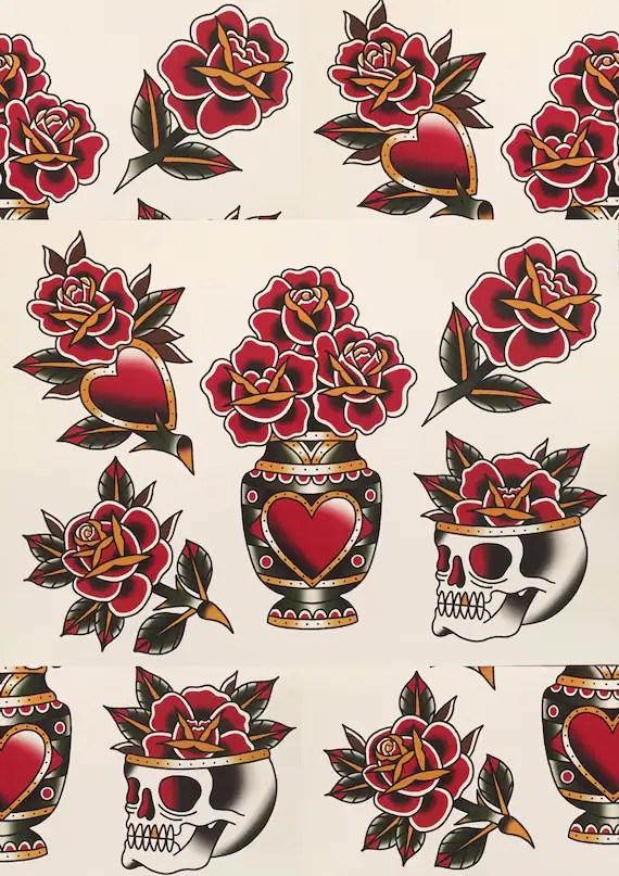 Traditional Rose Tattoo : traditional, tattoo, Traditional, Tattoo, Flash