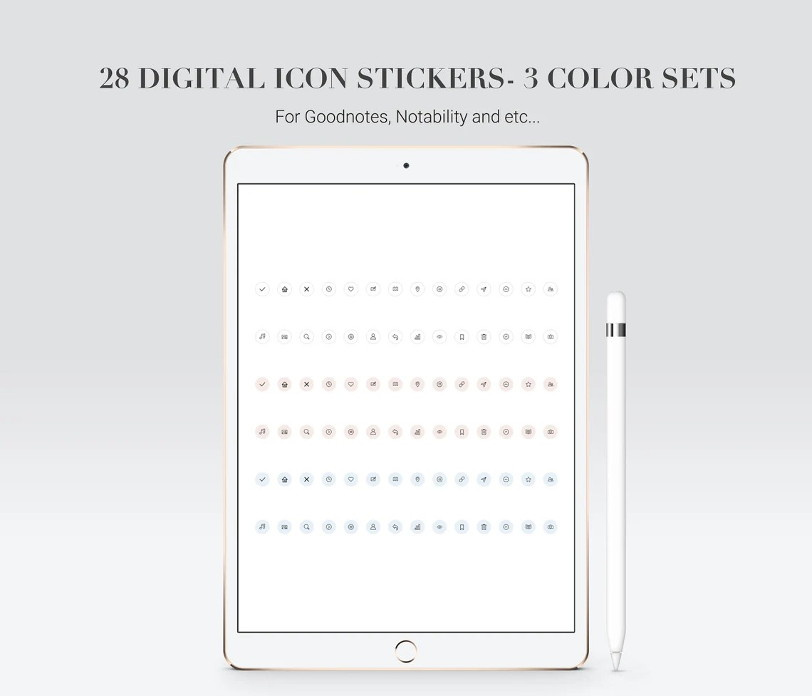 Goodnotes stickers in PNG in pastel. Icon stickers.