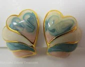 Vintage Pastel Enameled Earrings