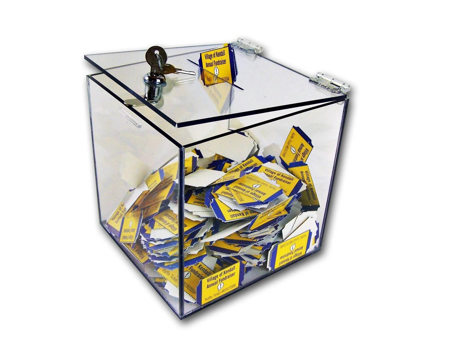 Clear Acrylic Donation Box with Lock - Ballot Box with Lock