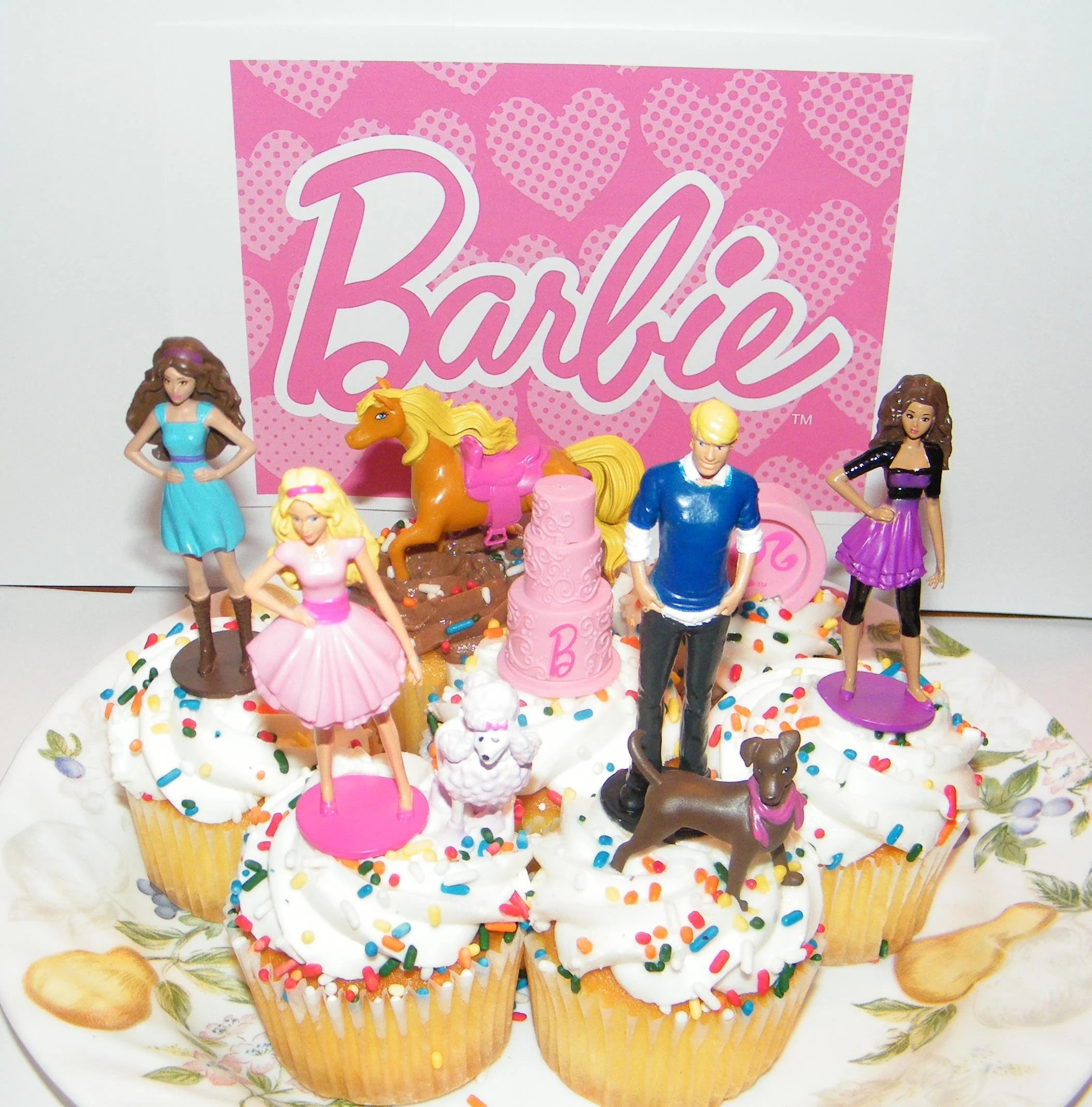 Barbie Ken And Friends Birthday Cake Topper Cup Cake Etsy
