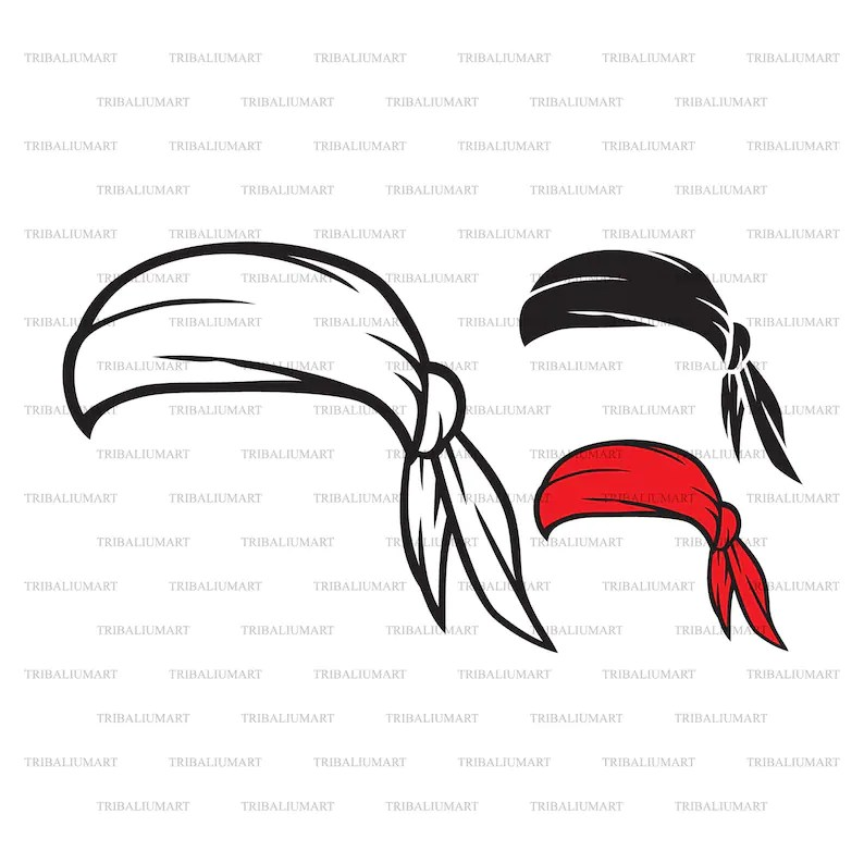 Bandana Pirate Scarf Hat. Cut files for Cricut. Clip Art