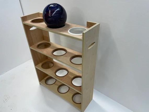 unfinished plywood bowling balls rack storage organizer choose etsy