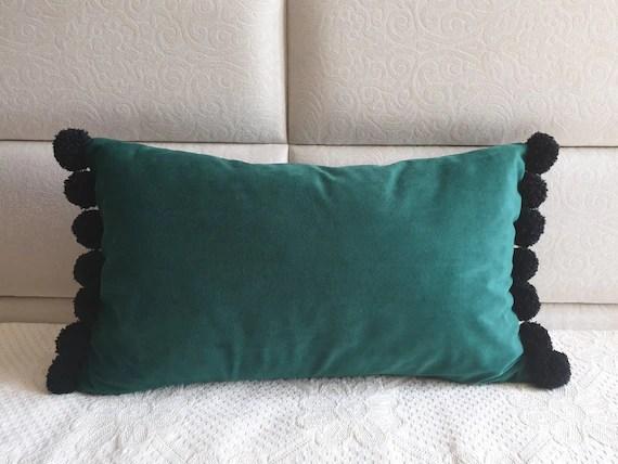 emerald green pillow cover lumbar pillow case green pom pom pillow green throw pillow decorative pillow lumbar pom pom pillows