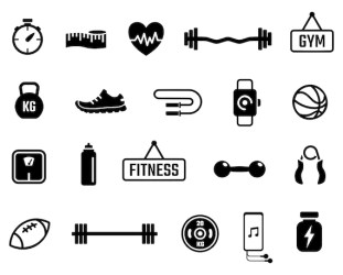 Fitness Clip Art Gym Vector Art Exercise Silhouette Images png Etsy