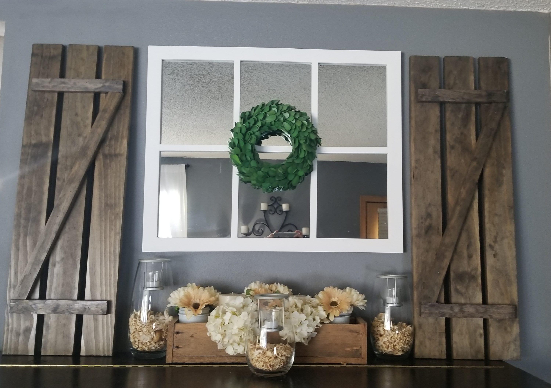 Set Of 2 Decorative Z Bar Rustic Shutters