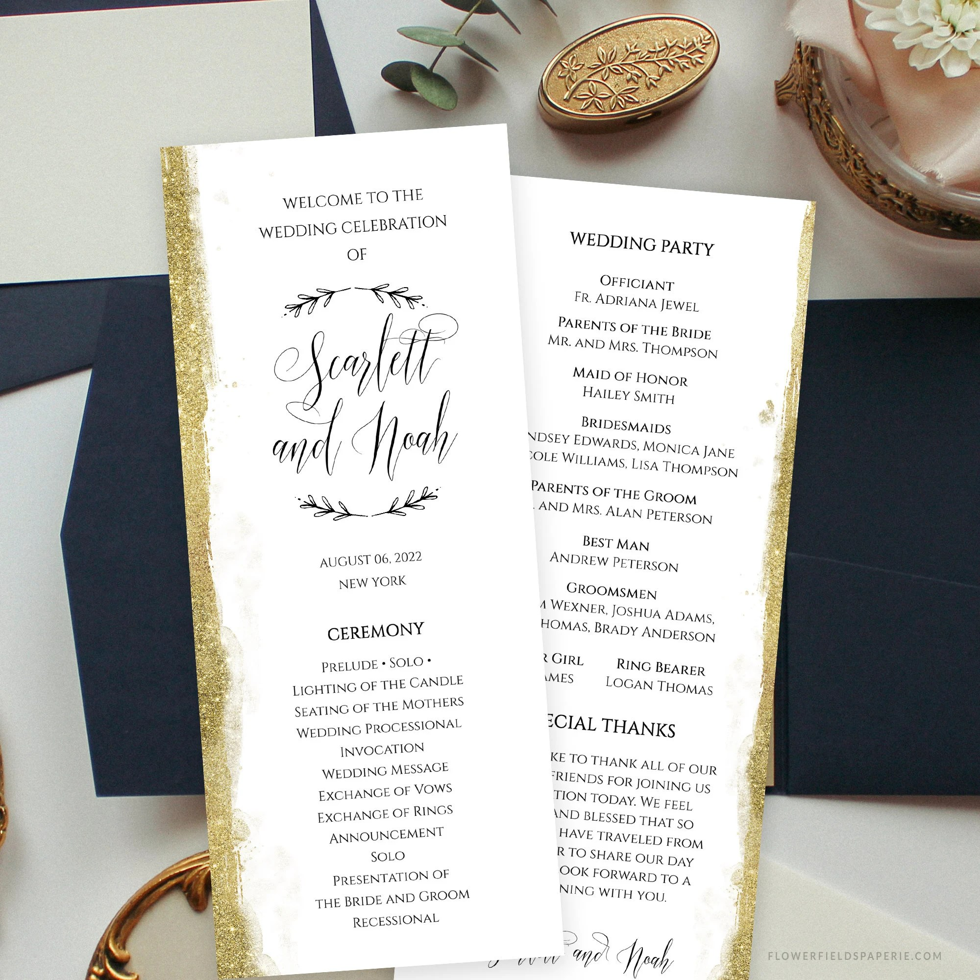 Gold Glitter Wedding Program Template Wedding Program Card Elegant Diy Order Of Service Template Printable Wedding Ceremony Card 013 120