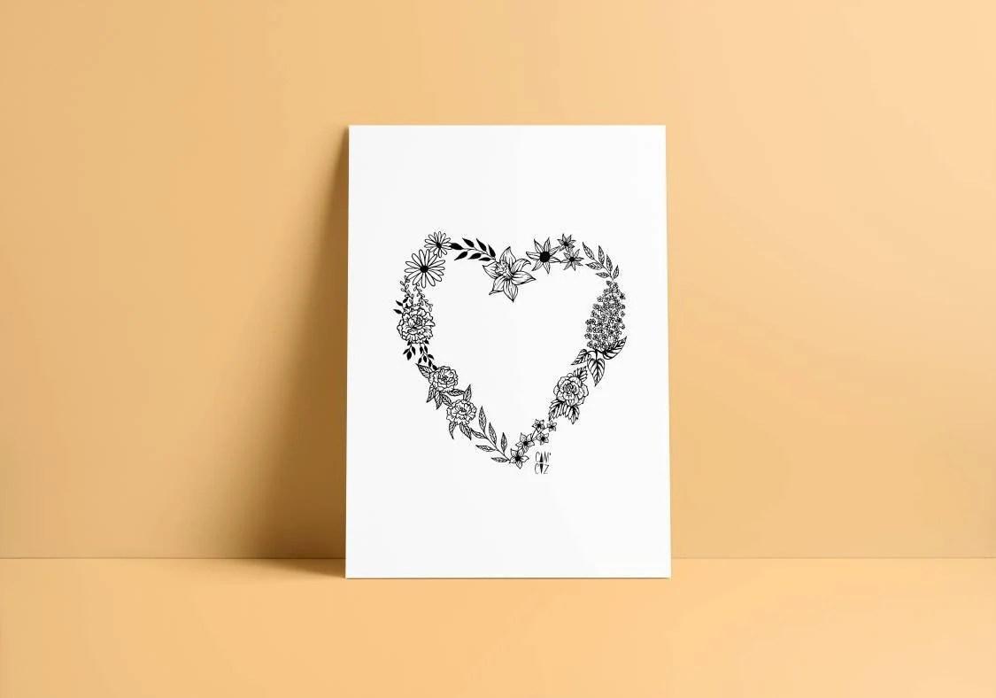 heart flowers print etsy