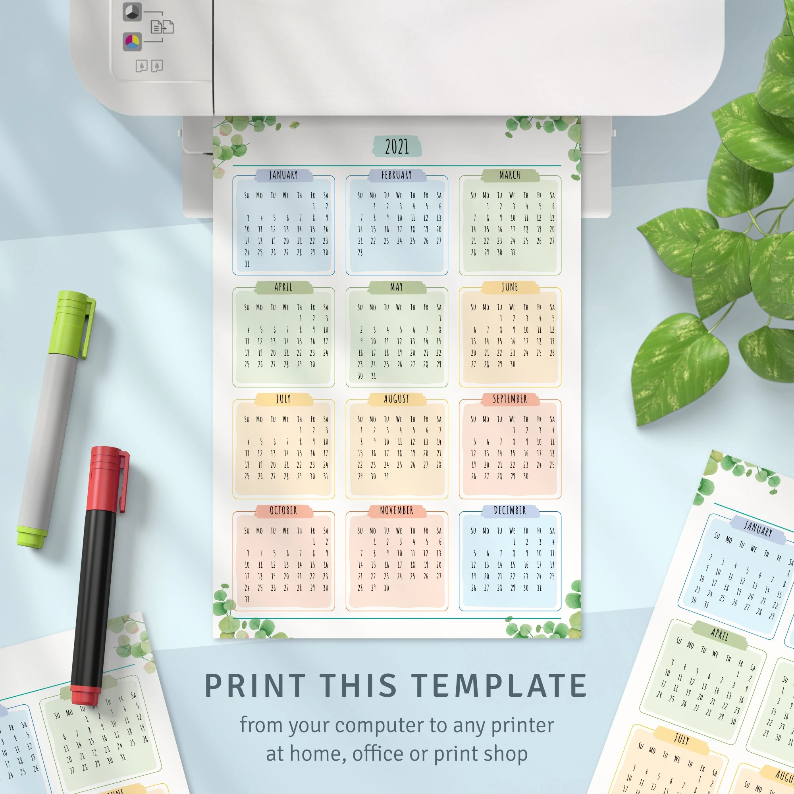 Printable Calendar 2021 2022 Year At A Glance Calendar | Etsy