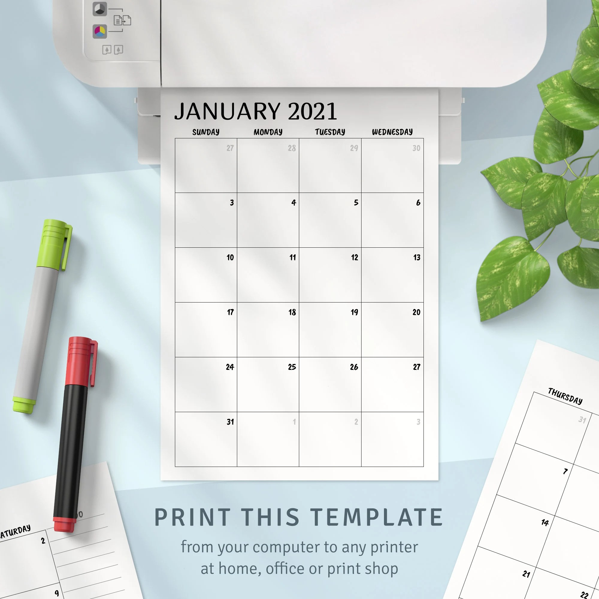 This printable january calendar is vertical layout with month per page. Printable Calendar Monthly 2021 2022 Month on Two Page | Etsy