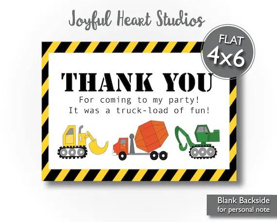 construction birthday thank you card