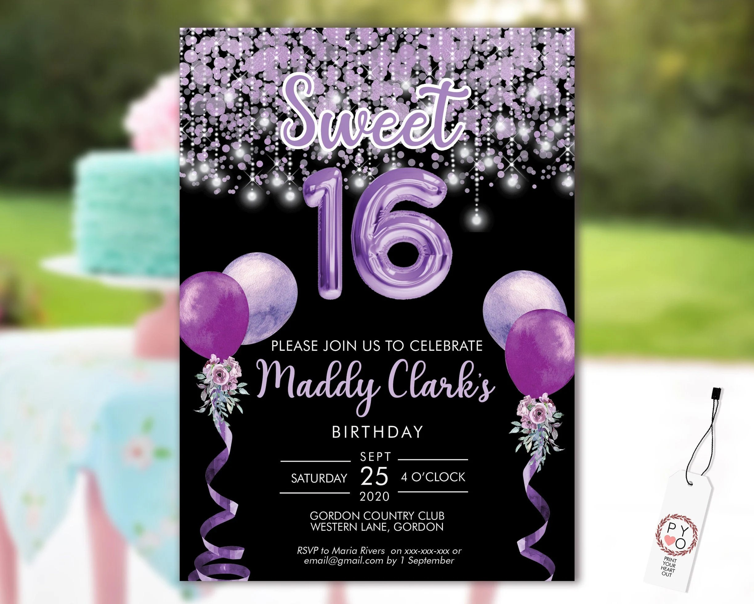 sweet 16 party invitation printable