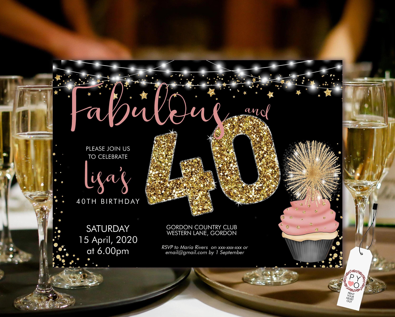 cupcake 40 birthday invitation