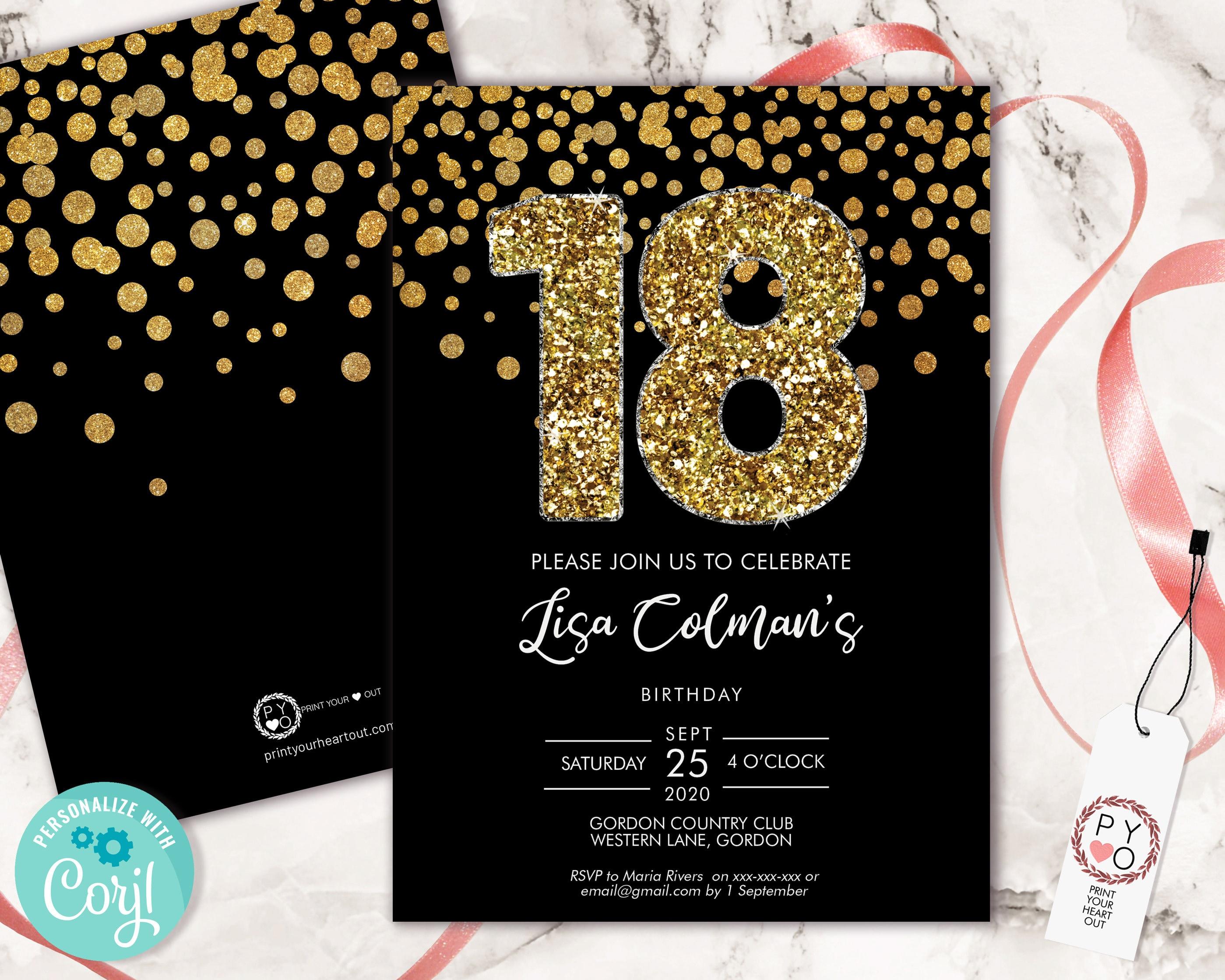 diy 18th birthday confetti invitation