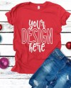 Bella Canvas 3001 Christmas Red Shirt Flatlay Mockup Bella Etsy