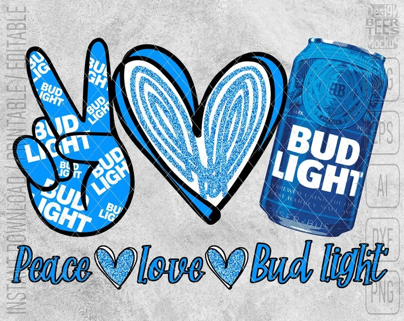 Download Peace Love Bud Light Beer Can SVG DXF PNG Cut Files Vector ...