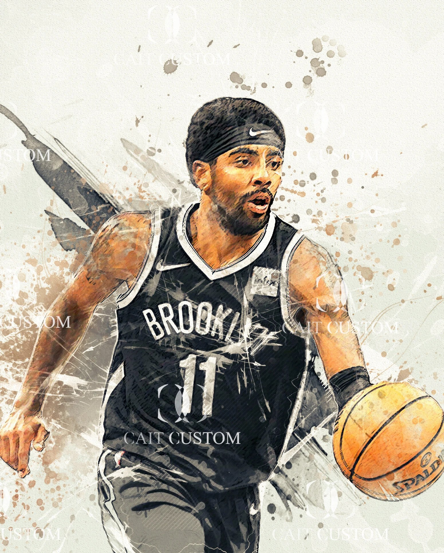 kyrie irving brooklyn nets watercolor poster canvas art print sport art print basketball poster man cave gift sports decor mother s day