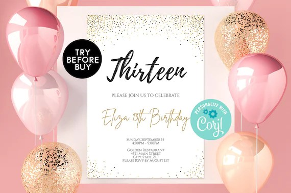 13th birthday invitation template editable 13th birthday invite gold glitter confetti surprise printable invite diy instant download