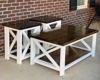 farmhouse end table etsy