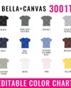 Bella Canvas 3001t Editable Color Chart Mockup Bella Canvas Etsy