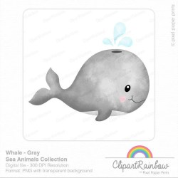 Whale clipart Watercolor whale clip art Baby whale Etsy