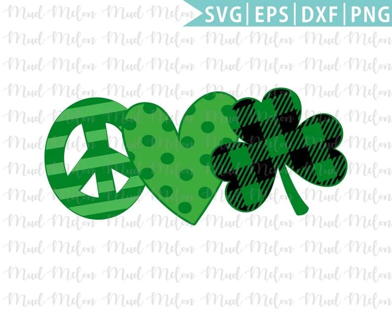 Download Peace Love Clover Svg Eps Dxf Png St Patricks Day Svg   Etsy