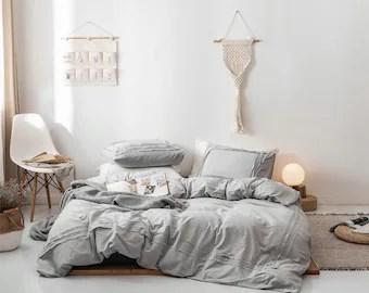 light grey bedding etsy