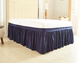 navy blue bedskirt etsy
